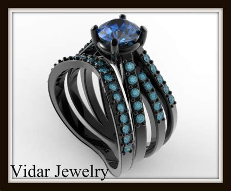 Black Gold Wedding Ring Set   Vidar Jewelry   Unique