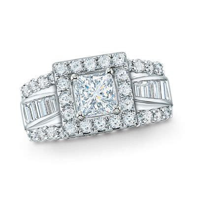 2 CT. T.W. Frame Princess Cut Diamond Engagement Ring in