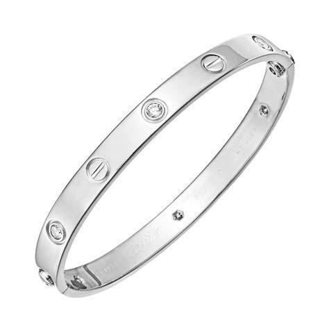 "Cartier White Gold & Diamond ""Love"" Bangle Bracelet"