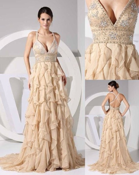 Dress Prom Long Jewels Sparkle Fancy Dinner Party Straps Ruffle Tan Prom Dress Wheretoget