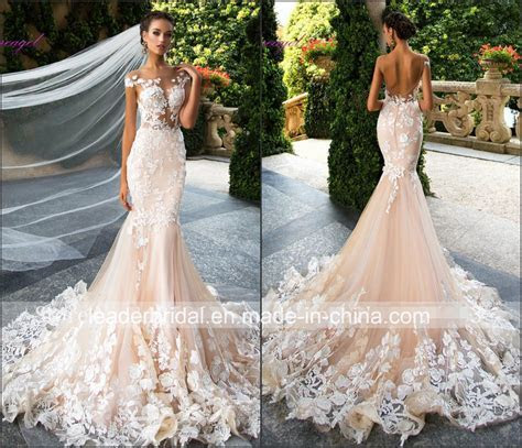 China Champagne Wedding Dress Sheer Top Lace Tulle Wedding