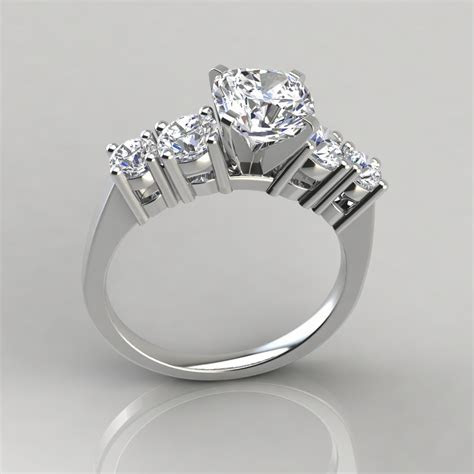 Graduated Five Stone Cushion Cut Engagement Ring
