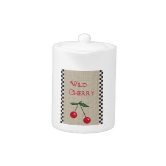 Wild Cherry Tea Pot with Cross Stitch Design