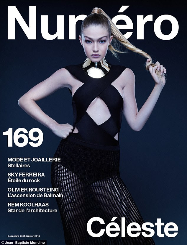 Sexy lady: Zayn Malik's rumoured love interest, Gigi Hadid shows off her model credentials in the latest issue of French magazine Numero, as she displays her underboob in a cut-out black leotard