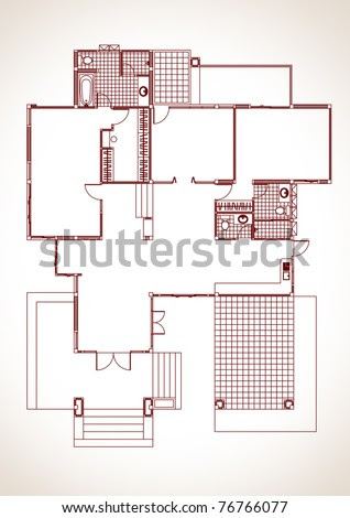 Residential Forms The Floor Plan. One Storey House Development ...