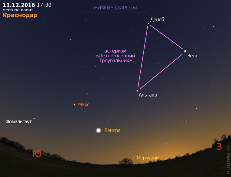 Меркурий, Венера и Марс на вечернем небе Краснодара 11 декабря 2016 г.