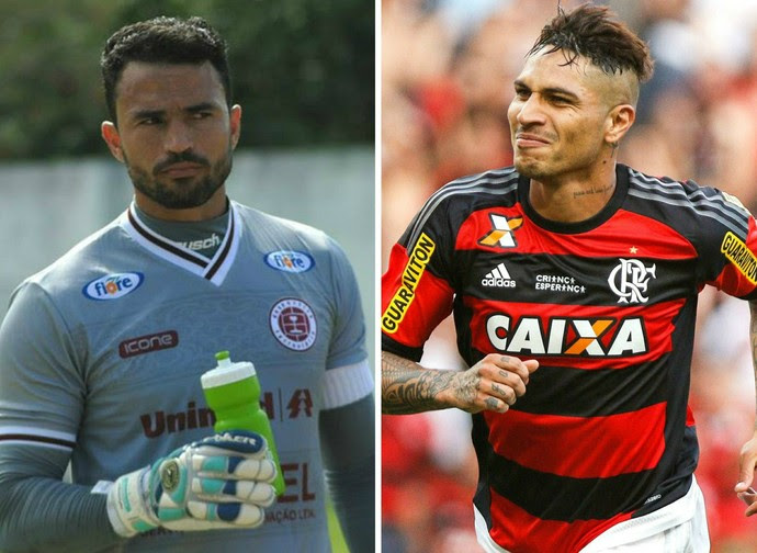 Goleiro Felipe, da Desportiva vai tentar parar o atacante peruano Guerrero, do Flamengo (Foto: Editoria de arte)