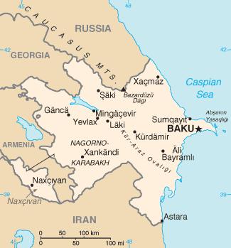 Ejemplo de un mapa de Azerbaiyán con regiones no contiguas