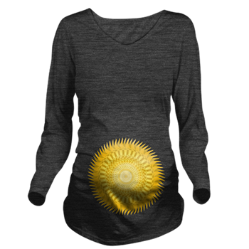 Sun Mandala yellow Long Sleeve Maternity T-Shirt