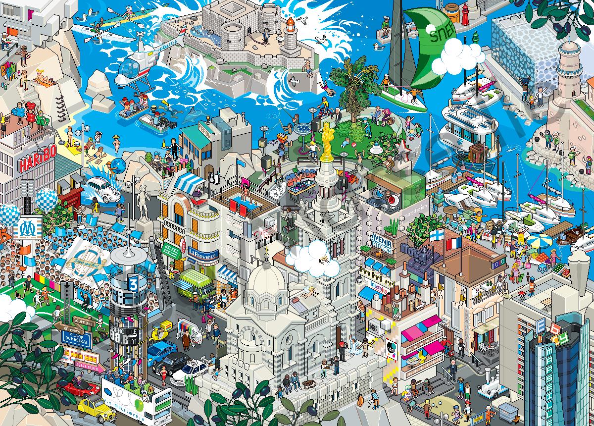 Eboy ville pixel art Marseille Les villes pixelisés deBoy  design art