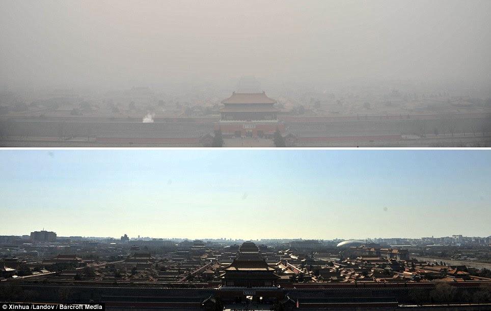 Remarquable: La photo ci-dessus a été prise près de la Cité Interdite à Pékin mercredi et celle du bas au même endroit le jeudi