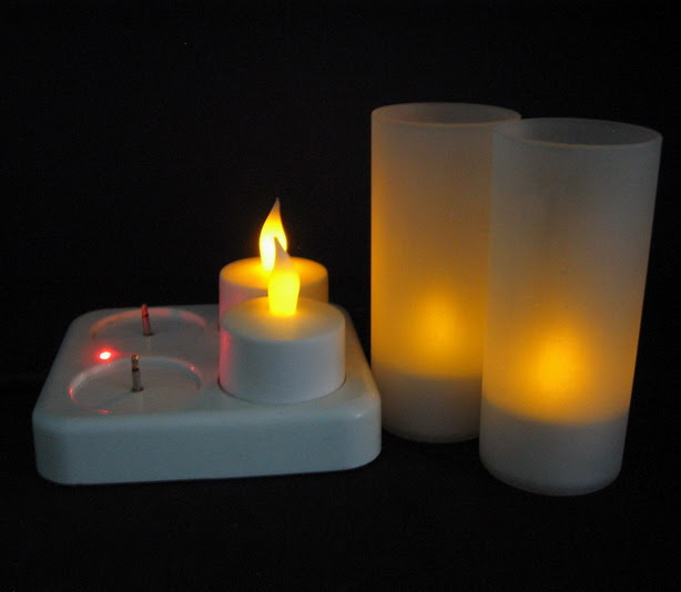 Flameless Flicker Rechargeable LED Tealight Votive Candles set of 4