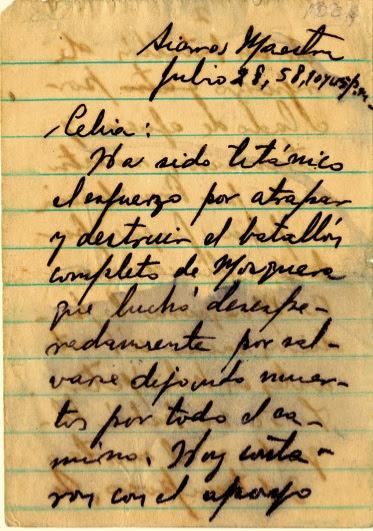 Mensaje de Fidel a Celia explicándole lo ocurrido la noche del 28 de julio de 1958.