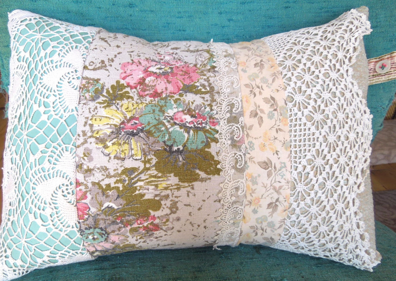 Sweet Vintage Lace & Barkcloth Patchwork Pillow Granny Chic Pale Pink Yellow Aqua Flower Fabric by Karyn Miracle - ShowandTellStudio