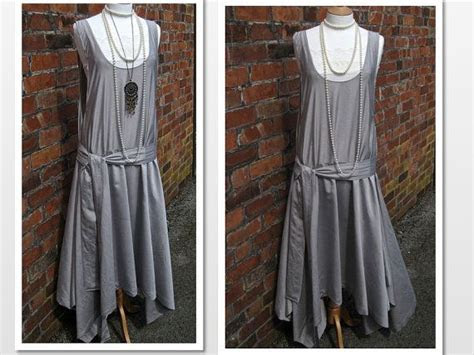 Art Deco 1920s Flapper Pinafore Dress with Sash Asymmetric