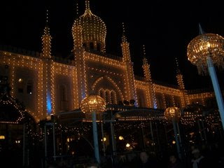 Tivoli gardens at night decorated by holiday lights
