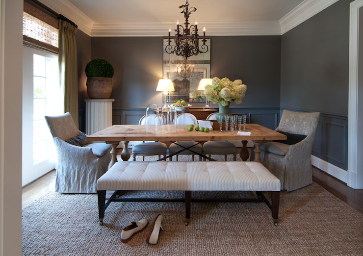 Suzie: R Higgins Interiors - Luxurious dining room with charcoal gray walls paint color, chair ...