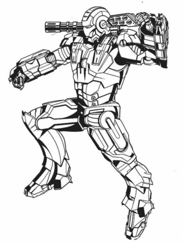 War Machine in Action in Iron Man Coloring Page - NetArt