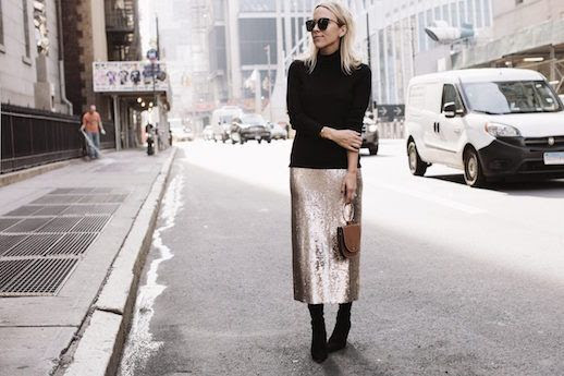 Le Fashion Blog Sunglasses Black Turtleneck Sweater Sequin Midi Skirt Black Boots Via Damsel in Dior