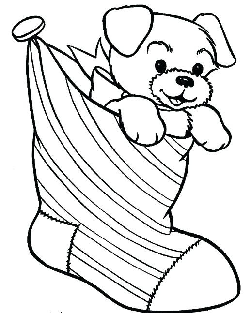 Christmas Puppy Coloring Pages Coloring And Drawing