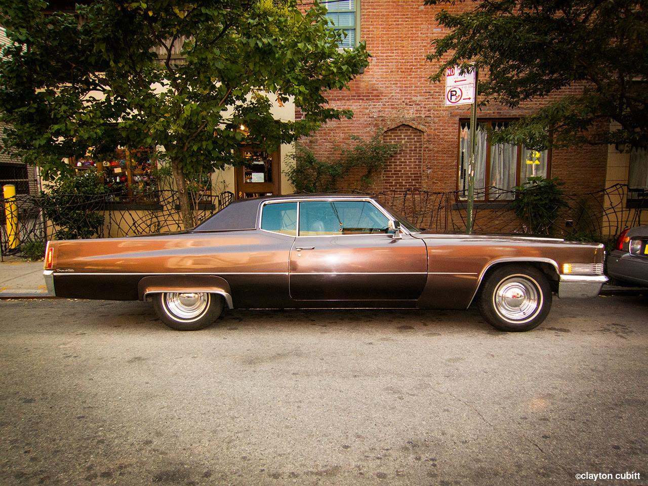 Vintage chocolate Cadillac, Brooklyn  (3371)