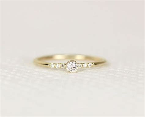14k Yellow Gold Diamond Engagement Ring,Simple Engagement