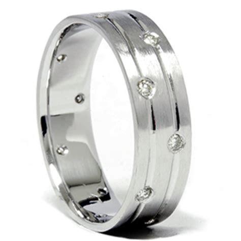Mens White Gold Diamond Comfort Fit Wedding Ring Band