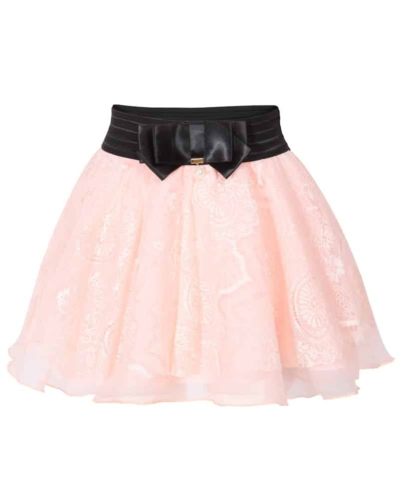 Bow Lace Mesh Flare Pink Skirt