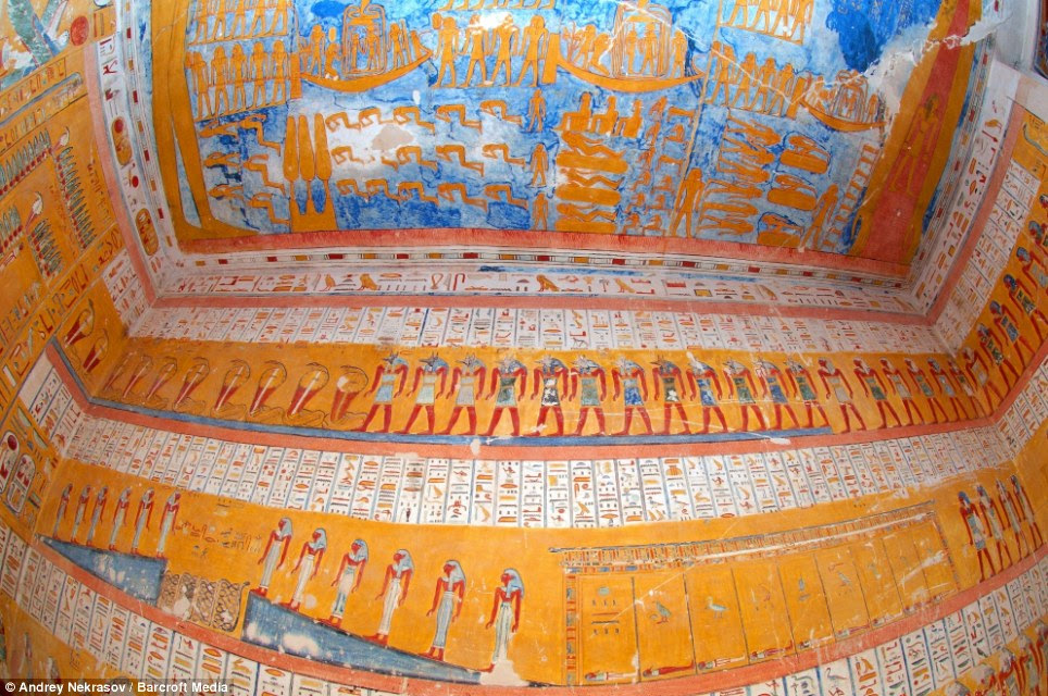 Inside the tomb: The interior of Ramesses IV's royal tomb, in East Valley of the Kings, in Thebes, Egypt, which was built for the ruler 3,000 years ago