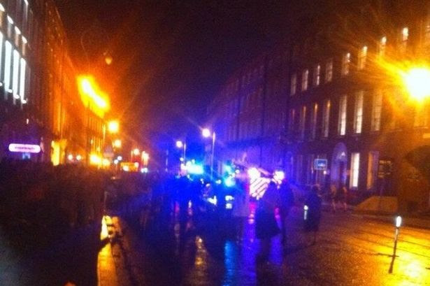 The scene on Harcourt St last night