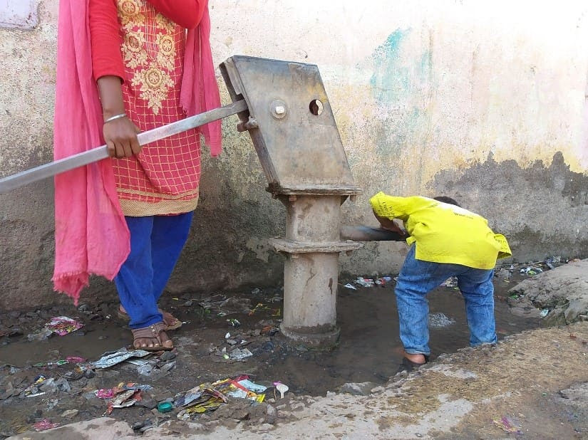 The hand-pump in Bramhangaon hamlet that is the only source of water. Firstpost/Natasha Trivedi