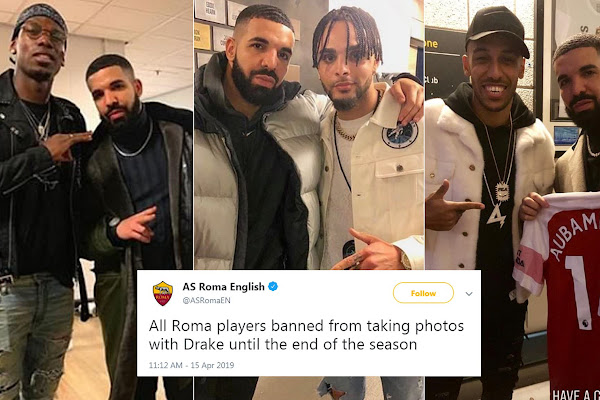 91549349 AS Roma hilariously ban all players from getting picture with Drake