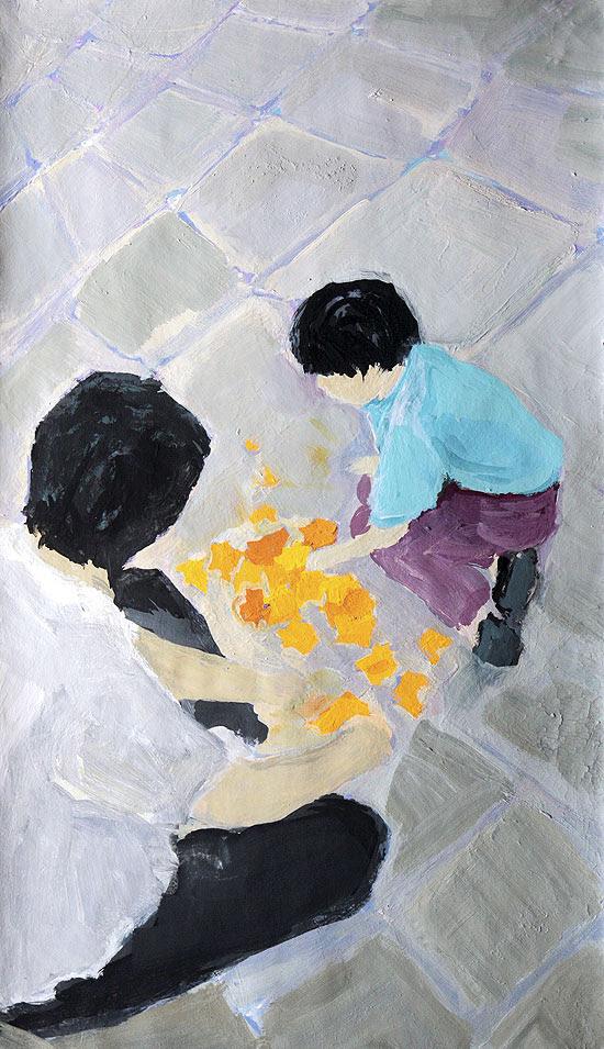 """Pintura da artista plástica Deborah Paiva para a edição de 17 de março da """"Ilustríssima"""" / Foto: Joel Silva/Reprodução/Folhapress"""