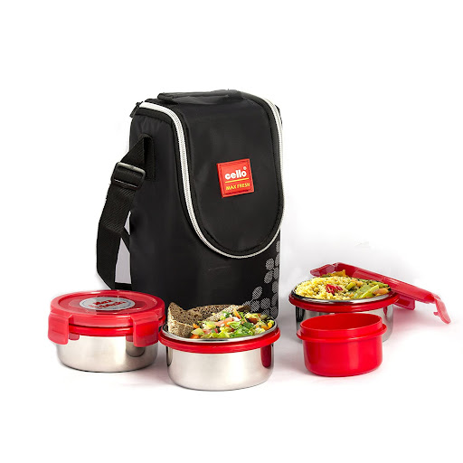 cello max fresh click steel lunch box set 4pieces red in 300 amazon free delivery