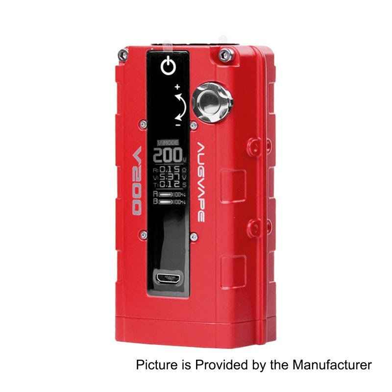 Authentic Augvape V200W Red 18650 TC VW Variable Wattage Box Mod - $69.99