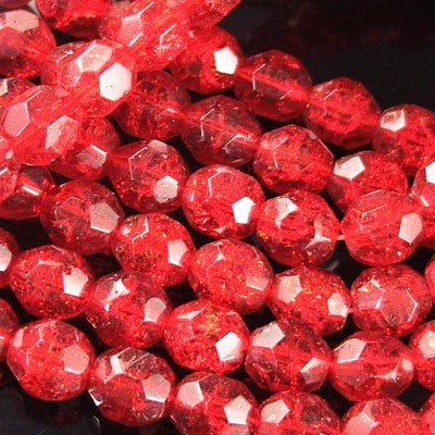 s18880 Crackle Beads - 8 mm Faceted Round - Vampires Dream (strand 25)