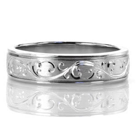 north shore hand engraved scroll  wedding bands