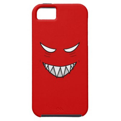 Tough Grinning Face With Evil Eyes Red iPhone 5 Case