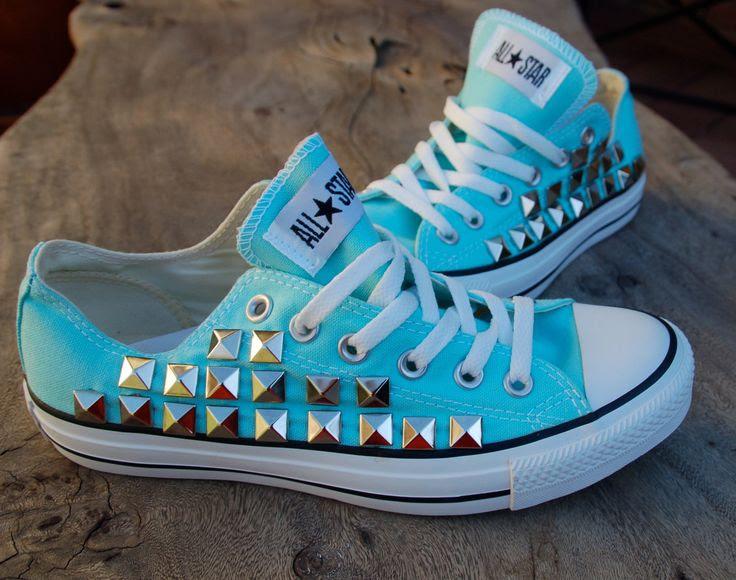 Studded Converse - Tiffany Blue Converse Low Top Mint/Aqua/Sky Blue. $110.00, via Etsy.
