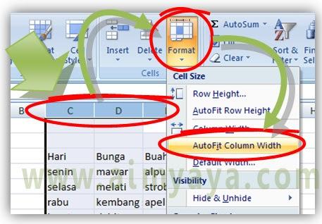 Gambar: Cara membuat lebar kolom mempunyai ukuran minimal di Microsoft Excel