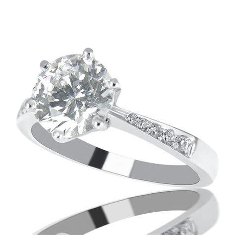1 Carat F SI1 Diamond Engagement Ring Round Cut 14K White