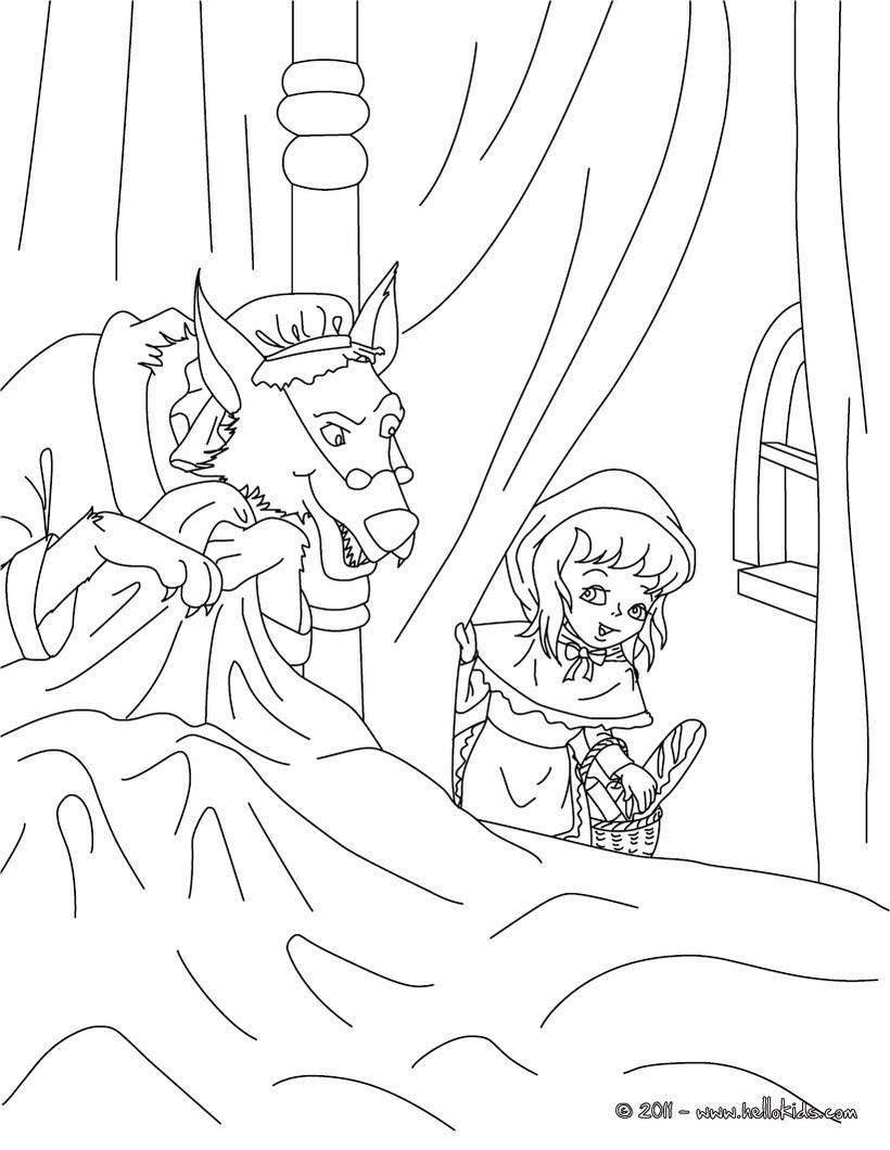 The little red riding hood fairy tale coloring pages ...