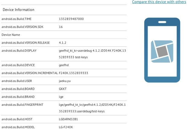 LG F240 possibly spied in benchmarks packing 1080p screen, Snapdragon S4 Po