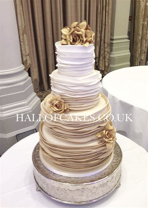 Beautiful Gold Ombre Wedding Cakes by Hall of Cakes   cake