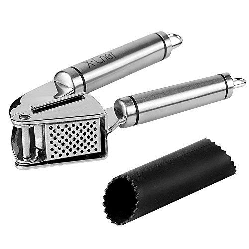 Stainless Steel Garlic Press, X-Chef Premium Peeling Press Mince &