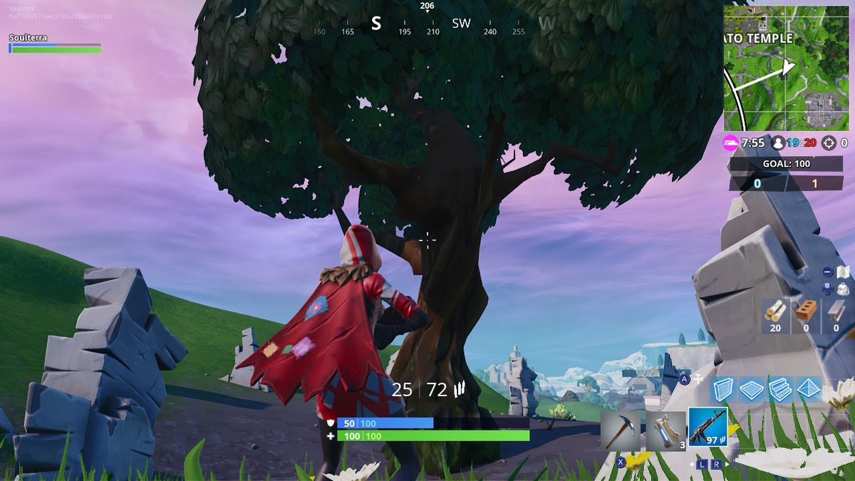 Fortnite Week 5 Challenges Where To Search Between A Giant Rock Man - fortnite hidden battle star encircled tree location