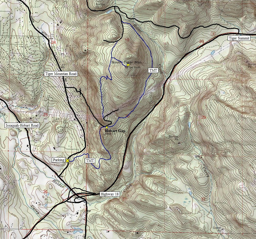 South Tiger Mountain Map