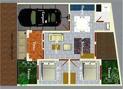 Desain Rumah Minimalis Type 50 Plus Denah