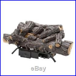 18 In Natural Gas Fireplace Logs Set W Remote Ventless Decorative