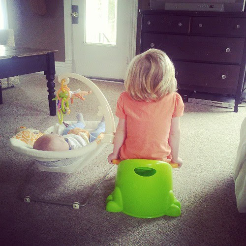 She insists on being right next to him. #pottytraining